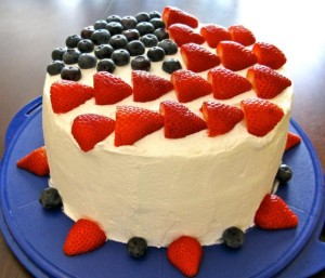 July 4th Strawberries and Blackberries birthday cake